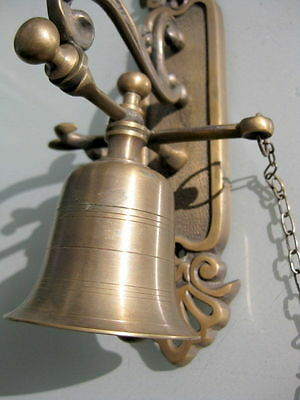 """used Front Door Bell pull chain solid aged brass old vintage style 8.1/2 """" hang"""