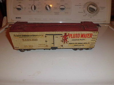Vintage Train Box Car Wooden With Metal Wheels