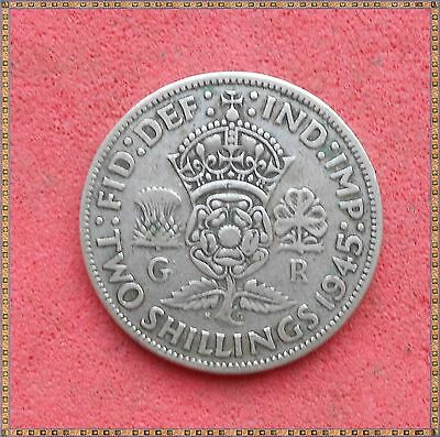 1945 George Vi Silver Florin/ Two Shillings (2/-) Coin.