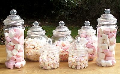 Vintage Retro Victorian  7 Large Jar Set Pick 'n' Mix Candy/Wedding Buffets