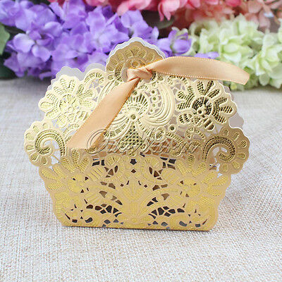 5pc Gold Laser Cut Hollow Candy Box Favor Gift Bag with Ribbon For Wedding Party