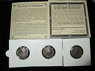 "PREMIUM - Ancient Roman - ""THE FATHER OF CHRISTMAS"" 270- 275 AD in Album & COA"