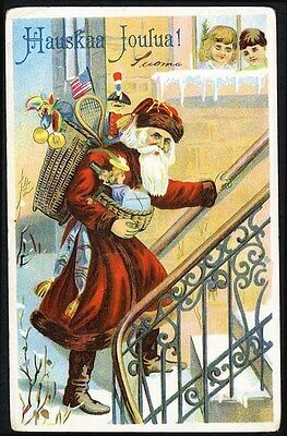 SANTA CLAUS Loaded with Toys Dolls - American Flag CHRISTMAS Postcard c 1910