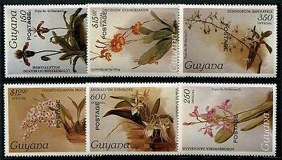 GUYANA Sc.# O43,O48,O53-56 Postage Ovpts. Orchid Officials Stamps