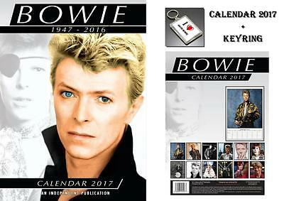 David Bowie 2017 Calendar + David Bowie Keyring - In Stock Now