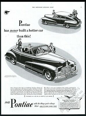 1942 Pontiac convertible and coupe car illustrated vintage print ad