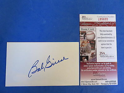 BOB GRIESE SIGNED 3x5 INDEX CARD ~ JSA I85655 ~ MIAMI DOLPHINS