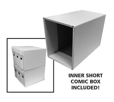 2 Cardboard Short Comic Storage Boxes & Outer Houses - New Improved Design!