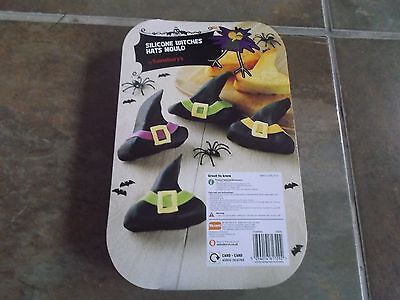 Brand New In Packaging Black Silicone Witches Hats Cake Or Jelly Mould Halloween
