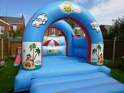Beach themed Commercial Grade Bouncy Castle 12x15ft Blower & Pegs.