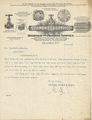 1912 Columbia Supply Co., Columbia SC Illustrated Letterhead
