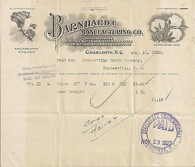 1922 Barnhardt Manufacturing Co., Charlotte N.C. Illustrated Letterhead