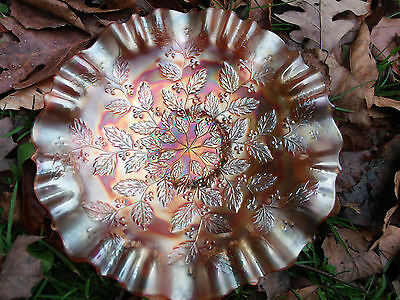 Fenton Holly Marigold Carnival Glass Bowl 9""
