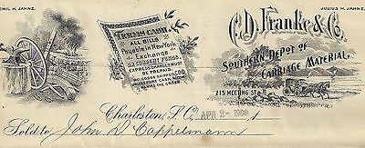 1900 Southern Depot of Carriage Material, Charleston SC Illustrated Billhead