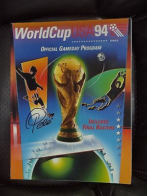 Pele' Hand Signed 1994 World Cup Game Day  Program From Washington, Dc