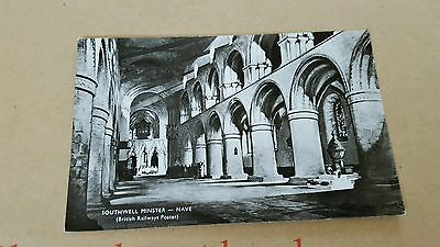 southwell minster  nave postcard  british railways poster real photo unposted