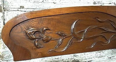 HUGE PEDIMENT ART NOUVEAU FLOWER ANTIQUE FRENCH CARVED WOOD SALVAGED CREST 58 in