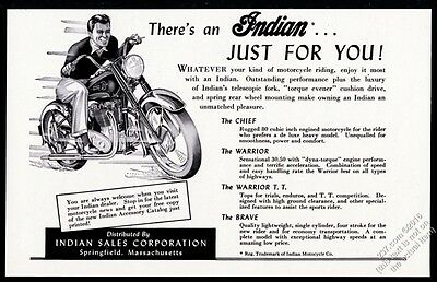 1951 Indian motorcycle illustrated vintage print ad