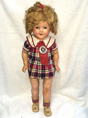 """Darling Shirley Temple 18"""" Composite Doll Original Dress Hair Shoes Badge MUST C"""
