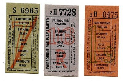Fairbourne Railway, Wales: 3 X Pre-Decimal Bell Punch Tickets.
