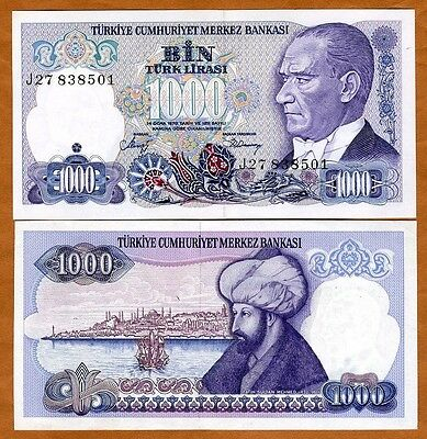 Turkey, 1000 Lira, L. 1970 (1986), P-196, UNC