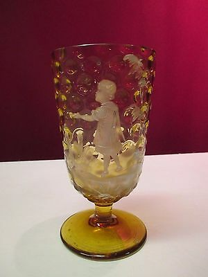 Mary Gregory Baby Thumbprint Glass Footed Tumbler Iced Tea