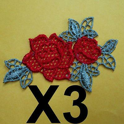 3 Patch Embroidery Lace Flower Patch Sew on Patch Applique Decoration Diy Lots