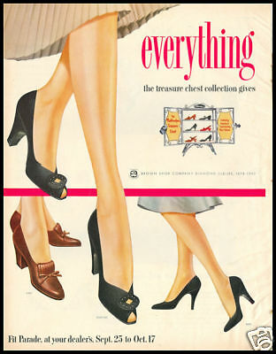 1953 vintage ad for Brown Shoe Company ladies shoes