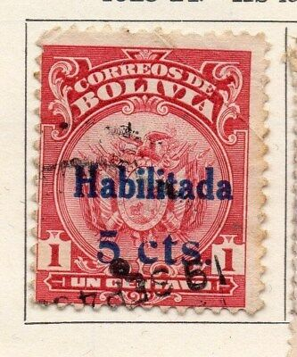 Bolivia 1923-24 Early Issue Fine Used 5c. Surcharged 113340
