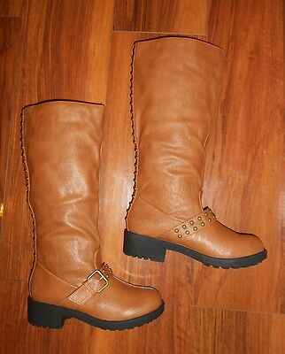 Womens Stunning New Good Quality Comfy Flat Brown Knee High Boots Uk Size 3 (37)