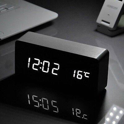 LED Wooden Alarm Clock Time Thermometer Snooze Voice Control Digital Table Clock