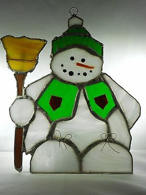 Stained Glass Snow Man Suncatcher (Real Glass)