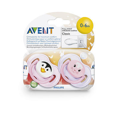 Philips AVENT BPA Free 0-6 Months 2 Pack Animal Face Pacifier - Girl