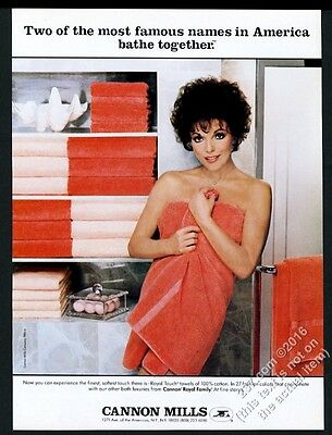 1984 Joan Collins photo in towel Cannon Towels vintage print ad