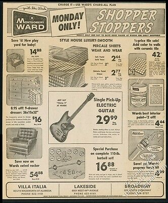 1966 Montgomery Ward electric guitar etc vintage print ad