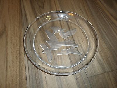 "7.5"" Clear Glass Pie Plate Decorative Collectible Etched Flying Birds Eeuc---Q"