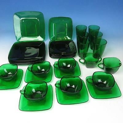 Anchor Hocking Depression Glass - Forest Green - 32 Pcs - Plates/Tumblers/Cups