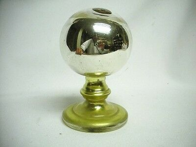 Antique Silver Mercury Glass Pedestal Yellow Base Gazing Witches Ball Old 1800's