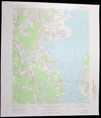 Wickford Rhode Island US Naval Reservation vintage 1976 old USGS Topo chart