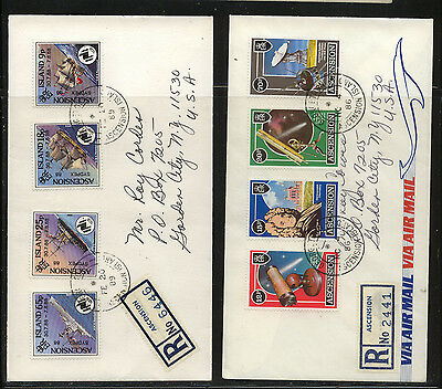 Ascension  Island  2  nice  airmail registered covers  to  US        MS0831