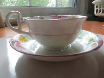 Royal Grafton Hand Painted Floral Pink Yellow Green Spray Tea Cup and Saucer