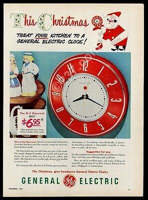 1950 General Electric Gourmet red kitchen clock photo vintage print ad