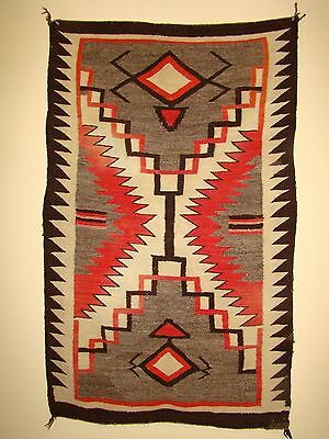 Antique Navajo Double Saddle Blanket Rare Storm Pictorial Native American rug