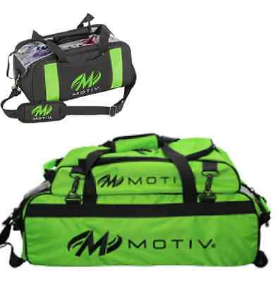 Motiv 3 Ball Tote Bowling Bag w/ shoe pocket & Matching 2 Ball Tote Color Green