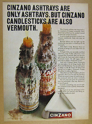 1969 Cinzano Vermouth candlestick bottle candle wax photo vintage print Ad