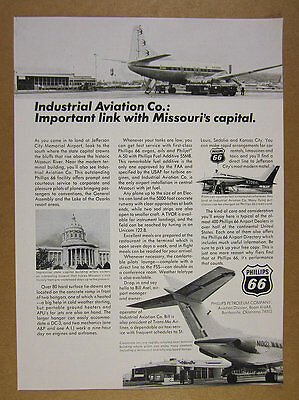 1967 Industrial Aviation jefferson city MO airport Phillips 66 vintage print Ad