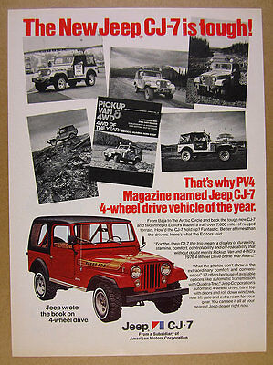 1976 AMC Jeep CJ-7 Renegade '4WD of the Year' color photo vintage print Ad
