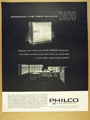 1961 Philco 2000 Computer 2400 Input-Output System vintage print Ad