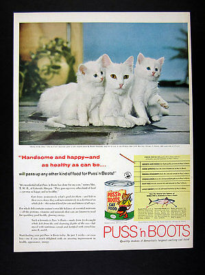 1958 white Mother Cat & blue-eyed Kittens Chandoha photo Puss n Boots print Ad