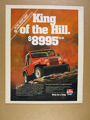 1989 Jeep Wrangler 'King of the Hill' red jeep photo vintage print Ad
